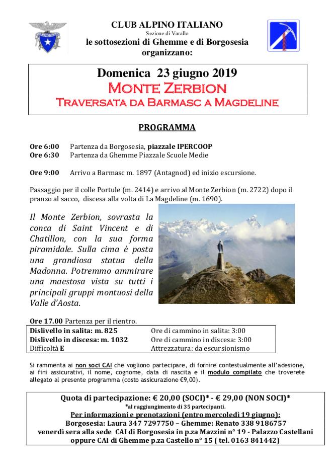 Domenica 23 giugno 2019 Monte Zerbion