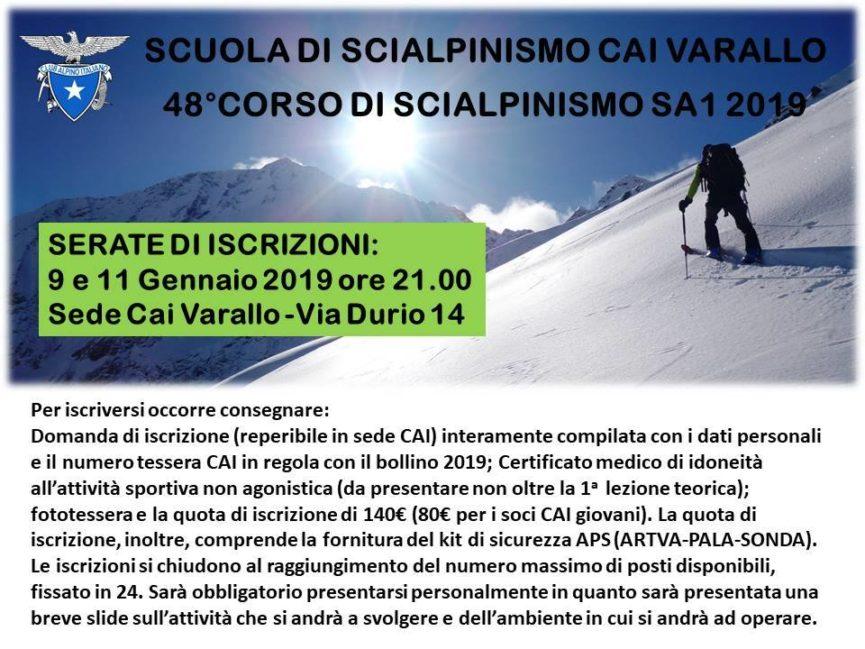 48°CORSO DI SCIALPINISMO SA1 2019