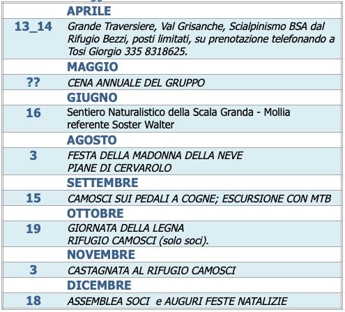 2019 EVENTI CON IL GRUPPO CAMOSCI