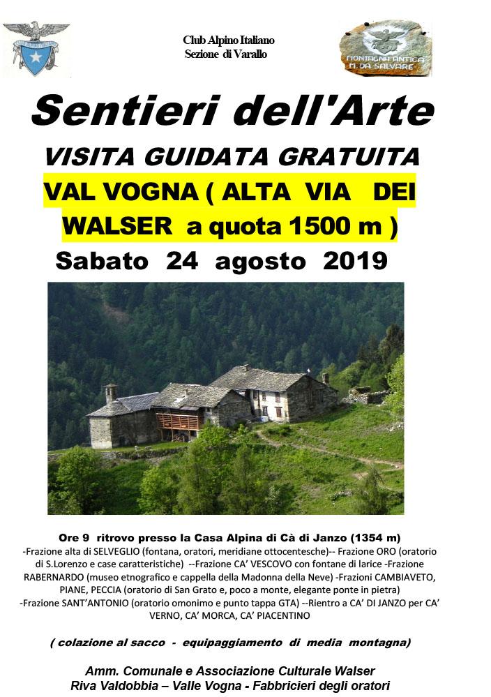 Val Vogna - Visita guidata gratuita - Sentieri dell'Arte 2019 -